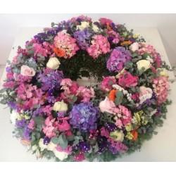 Corona de hortensias