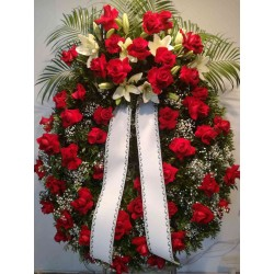 Corona de roses vermelles