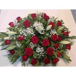 Coixí funerari roses i...
