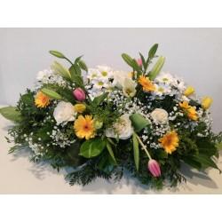 Coixí funerari de flor variada