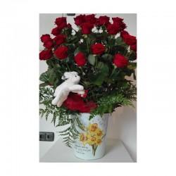 Centre de 25 roses vermelles